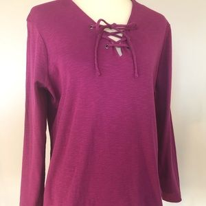 Ruff Hewn Heathered Magenta Cotton Lace Up Top